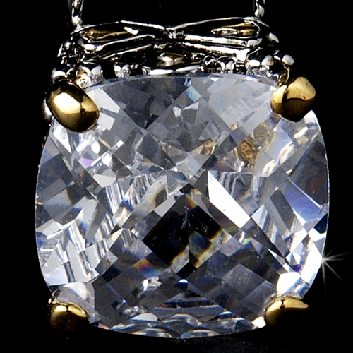 Designer CZ Earring in a Rhodium Silver with Gold Accented Setting 4115