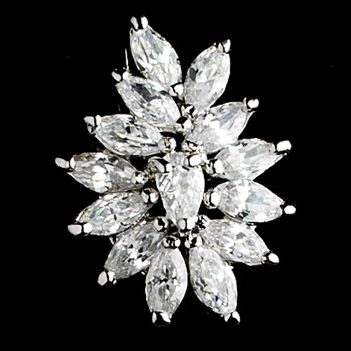 Exquisite Silver Plated Rhinestone Floral CZ Bridal Earrings - E 7516