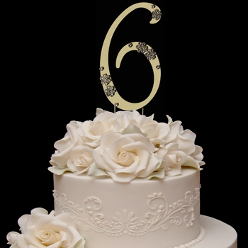 French Flower ~ Swarovski Crystal Wedding Cake Topper ~ Gold Number 6
