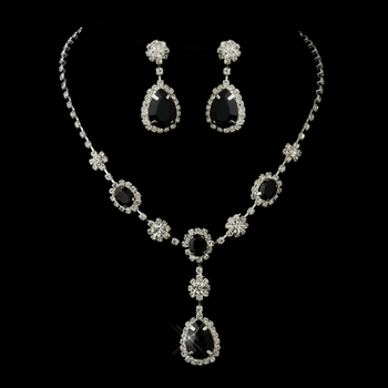 Silver Clear & Black Stone Floral Necklace & Earrings Bridal Jewelry