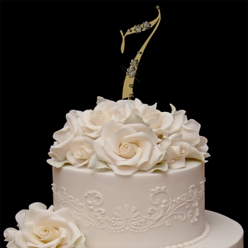 French Flower ~ Swarovski Crystal Wedding Cake Topper ~ Gold Number 7