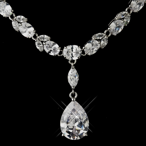 Antique Silver Link Chain w/ Clear CZ Crystal Pendant Bridal Jewelry Set 1282