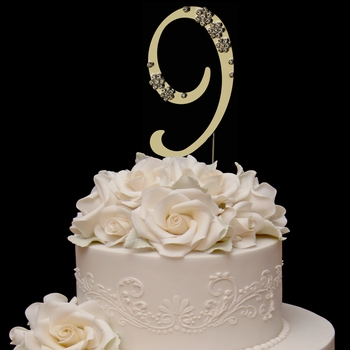 French Flower ~ Swarovski Crystal Wedding Cake Topper ~ Gold Number 9