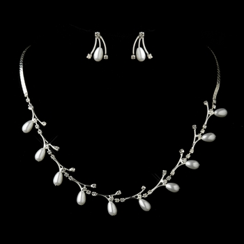Silver White Tear Drop and Clear Rhinestone Necklace & Earrings Bridal Jewelry Set 74900