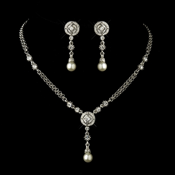 Antique Silver Clear Austrian Crystal and Diamond White Pearl Necklace & Earrings Set 8016
