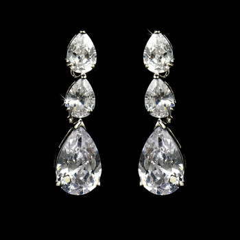 Classy Cubic Zirconia Accented Dangle Style Silver CZ Earrings E 2770