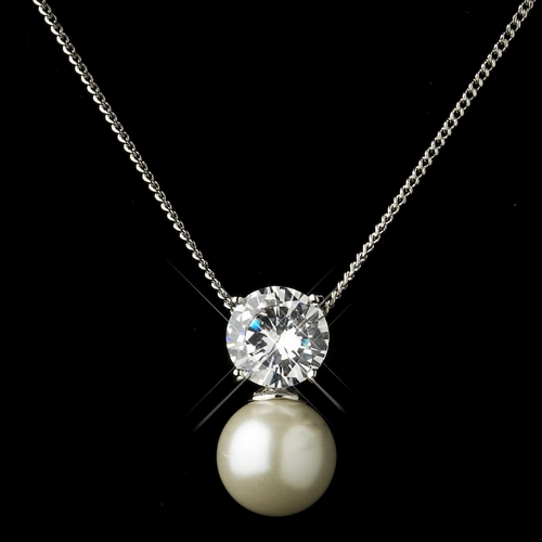 Antique Silver Ivory Pearl & Clear CZ Crystal Necklace & Earrings Bridal Jewelry Set 8607