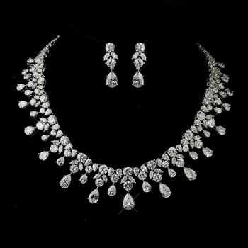 Antique Silver Clear CZ Crystal Necklace & Earrings Bridal Jewelry Set 8758