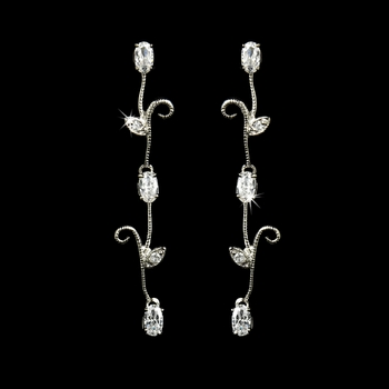 Antique Silver Clear Floral Earrings E 1783