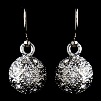 Antique Silver Rhodium Clear CZ Pave Vintage Ball Drop Earrings 8571