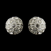 Silver Clear Oval Rhinestone Bridal Stud Earrings 20076