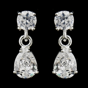Silver Clear CZ Tear Drop Crystal Dangle Drop Bridal Earrings 20788