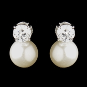 Silver Clear CZ Crystal & Diamond White Pearl Bridal Earrings **Discontinued***