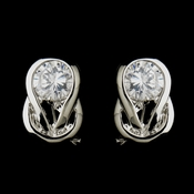 Silver Clear CZ Crystal Bridal Earrings 8789
