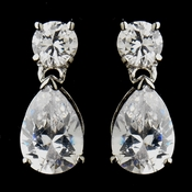 Silver Clear CZ Tear Drop Earrings 9951