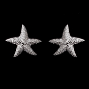 Antique Silver Rhodium Clear CZ Pave Starfish Earrings 6340
