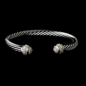 Designer Inspired Silver Cable Bangle Bracelet w/ Clear Rhinestones 3242