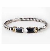 Antique Silver Black Cuff Designer Inspired Bracelet B 2690