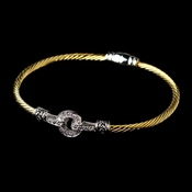 Two Tone Silver & Gold CZ Accented Cable Bangle Bracelet 8874