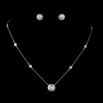 Antique Silver Clear CZ Crystal Necklace 8112 & Earrings Jewelry Set 3553
