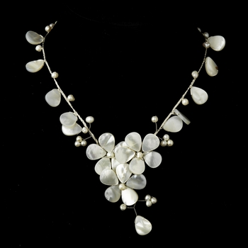 Silver Ivory Stone & Pearl Floral Necklace 8770