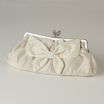 Champagne Matte Satin Beaded Bow Tie Bridal Evening Bag 301
