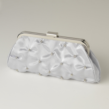 Silver Satin Rhinestone Evening Bag 303