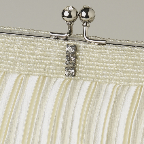 Ivory Satin Beaded Rhinestone Bridal Evening Bag 304