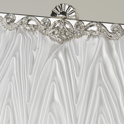 White Satin Evening Bag 308 with Rhinestone Accented Vintage Frame