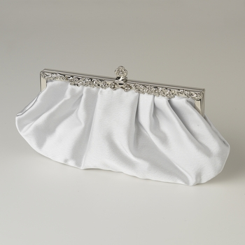 White Satin Evening Bag 309 with Rhinestone Accented Vintage Frame