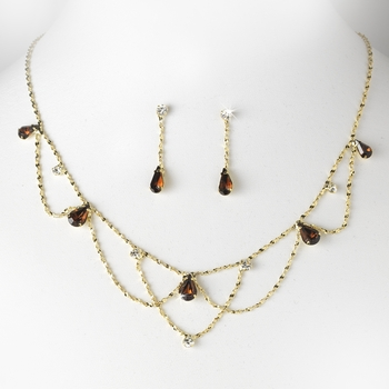 * Gold Brown Necklace & Earring Bridal Jewelry Set NE 8000