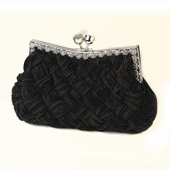Black Satin Weave Evening Bag 312 with Crystal Frame