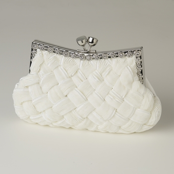 Cream Satin Weave Evening Bag 312 with Crystal Frame