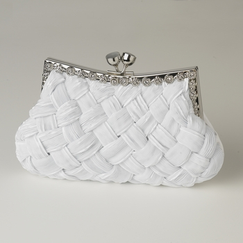 White Satin Weave Evening Bag 312 with Crystal Frame