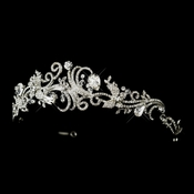 Antique Silver Clear Rhinestone & Crystal Swirl Tiara Headband Headpiece 867***Discontinued***