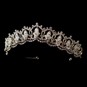 Gold Clear Rhinestone Royal Tiara Headpiece 10575