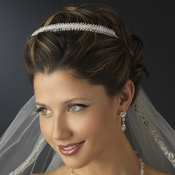 Silver Clear Swarovski Crystal & Rhinestone Bridal Side Accented Headpiece 8431