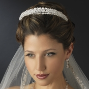 Silver Clear & AB Double Layer Swarovski Crystal Bridal Headband Headpiece 8433