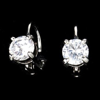 Silver Lever Back Cubic Zirconia Solitaire Earrings E-6000 ** Discontinued**
