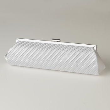 White Pleated Satin Evening Bag 319