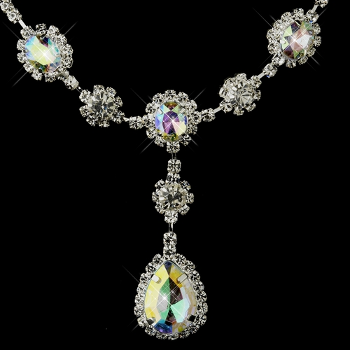 Silver Clear & AB Stone Floral Necklace & Earrings Bridal Jewelry Set 12053