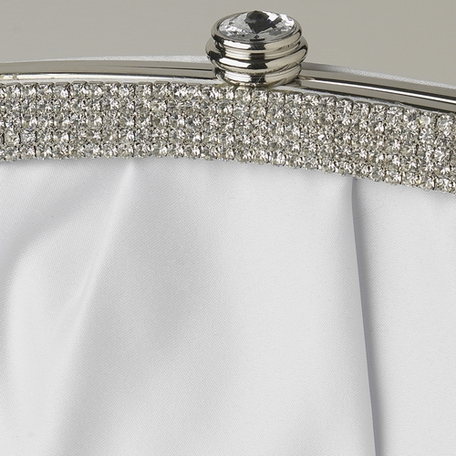 White Satin Evening Bag 322 with Crystal Trim Accent & Closure, Silver Shoulder Strap***Discontinued***