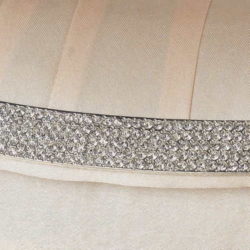 * Champagne Satin Evening Bag 323 with Crystal Trim Accent & Closure, Silver Shoulder Strap