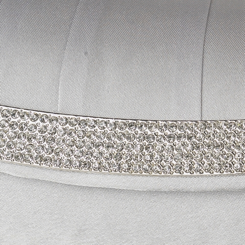 Silver Satin Evening Bag 323 with Crystal Trim Accent & Closure, Silver Shoulder Strap