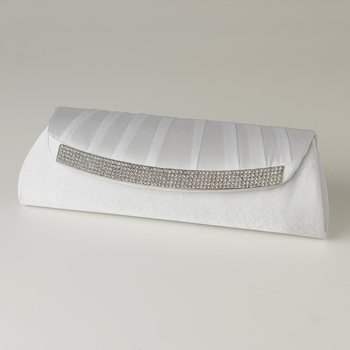 White Satin Evening Bag 323 with Crystal Trim Accent & Closure, Silver Shoulder Strap