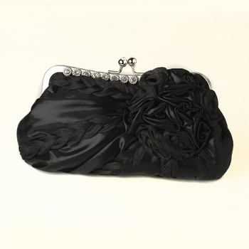 * Black Braided Ruffle Floral Rhinestone Evening Bag 328 with Silver Frame & Shoulder Strap