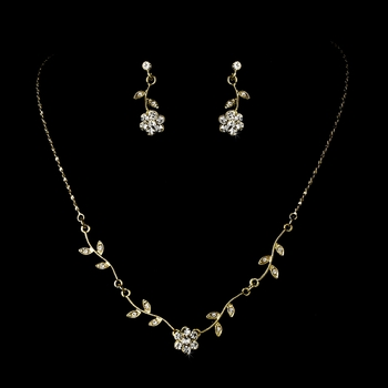 * Enchanting Gold Clear Floral Bridal Jewelry Set NE 330