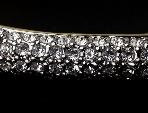 Classy Gold Clear Rhinestone Bangle Bracelet 3107