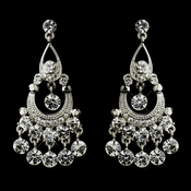 Antique Silver Clear Rhinestone Bridal Chandelier Earrings 9244