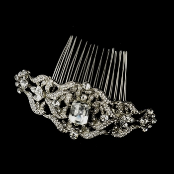 Antique Silver Clear Rhinestone Side Comb 9994